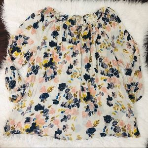 Lucky Brand Watercolor Floral Print Top Sz 1X